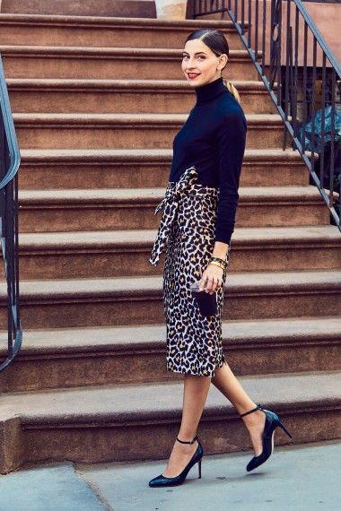 Как да носим леопардова пола тип молив?