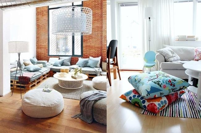 Комфорт и уют у дома с възглавници на пода