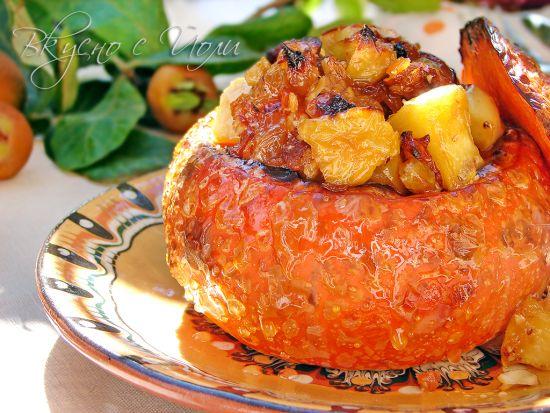 Десерт в оранжево: Пълнена тиква хокайдо с карамелени ябълки