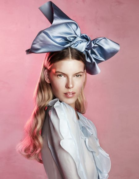 Victoria Tuaz big blue satin fabric hair bow