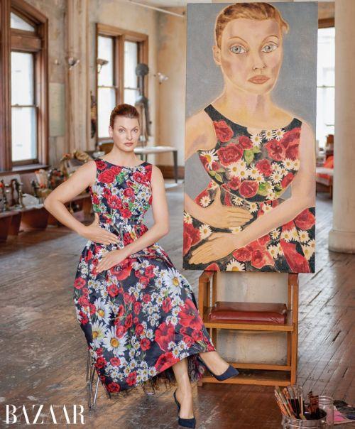 Линда Еванджелиста и Кристи Търлингтън в един интересeн проект на американския Harper's Bazaar