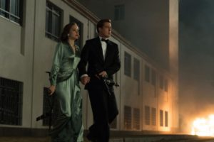 Marion Cotillard plays Marianne Beausejour and Brad Pitt plays Max Vatan in Allied from Paramount Pictures.