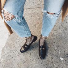 Как да носим: мрежест чорапогащник с джинси