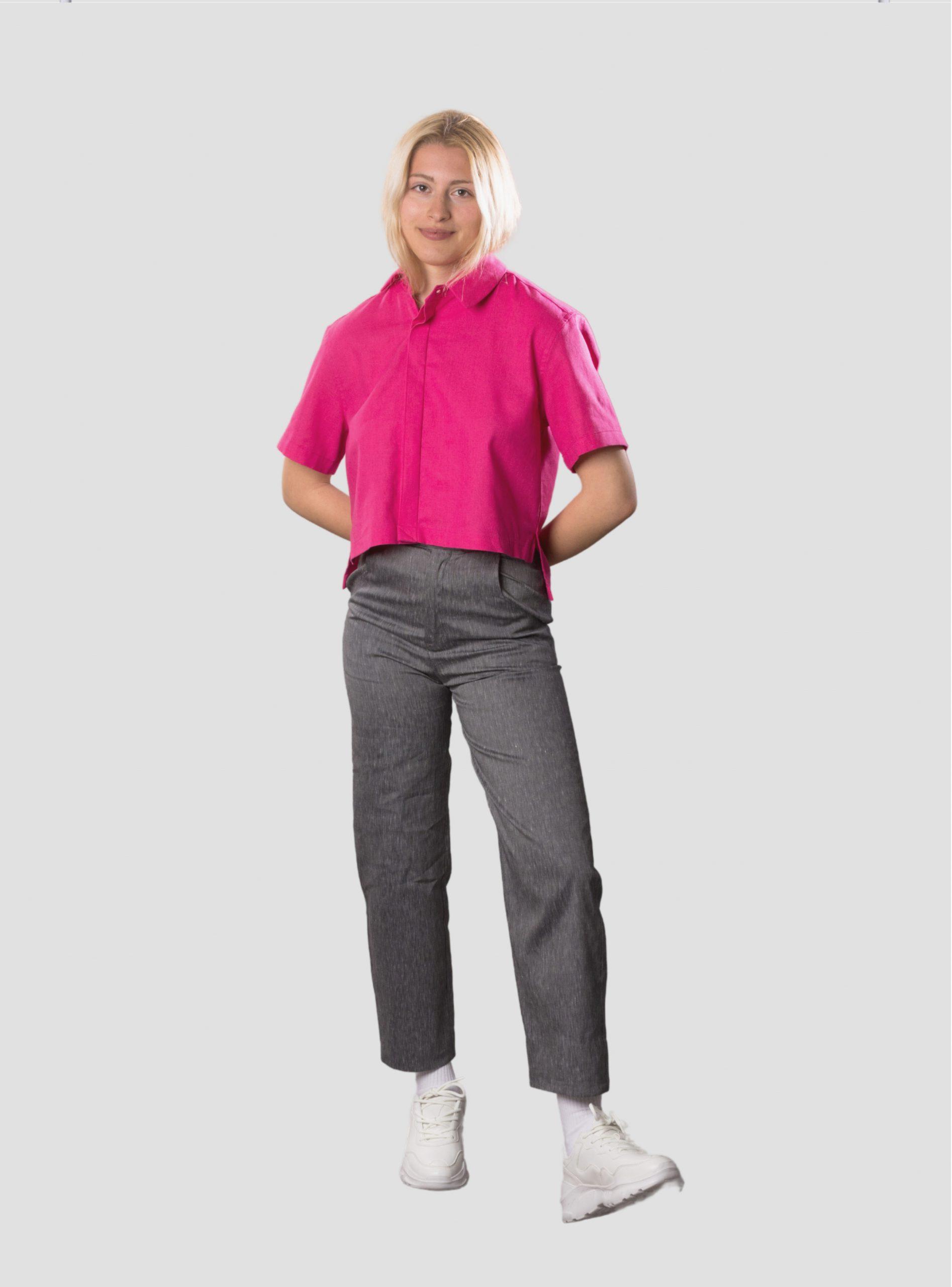 Асиметрична риза от ленена смес в цвят фуксия NIKOLOVA