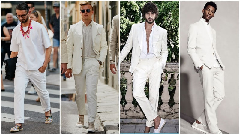 impressive all white beach outfit men