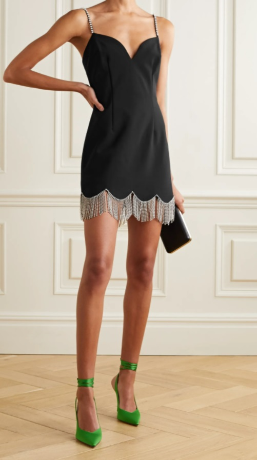 Малка черна рокля с кристали от AREA