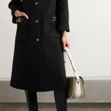 Черно вълнено палто от GUCCI