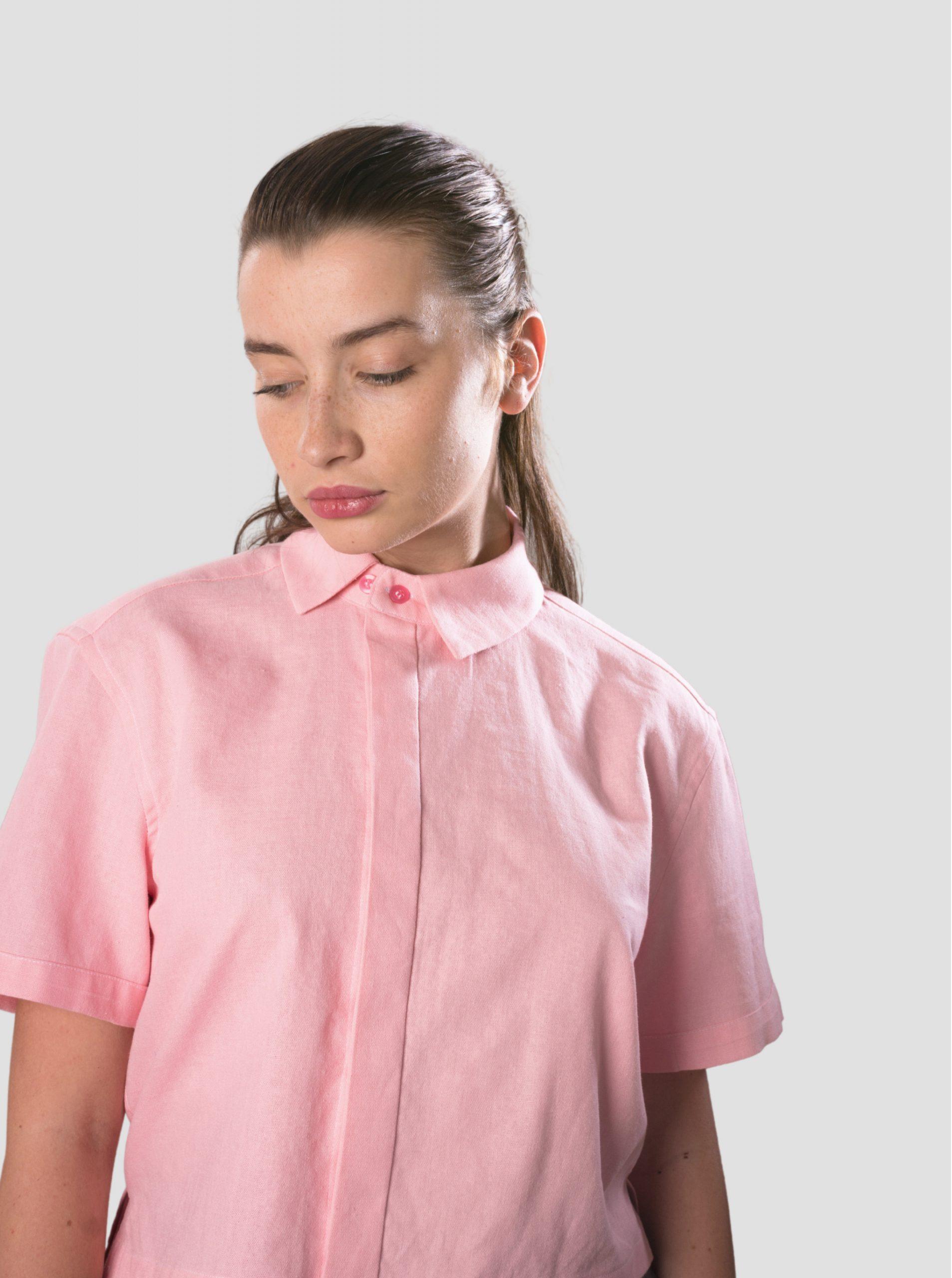 Асиметрична риза от ленена смес в розов цвят NIKOLOVA
